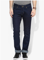 Wrangler Navy Blue Solid Mid Rise Slim Fit Jeans