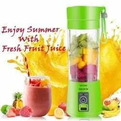 USB Juicer Bottle 4 Blade Blender Bottle Juice Maker Machine (Multicolour)- JUICE-BOTTLE