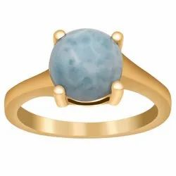 Sky Color Larimar Gemstone 2.75 Ctw Gold Plated Engagement 925 Silver Ring