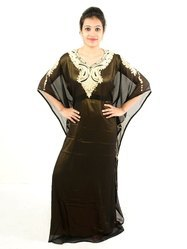 Georgette 3/4th Sleeves V-Neck Fancy Kaftan