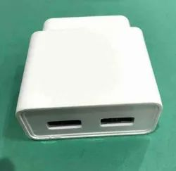 White Double USB Mobile Charger -5V DC,2.4Amp- Horizontal