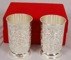 Brass Silver Plated Glass