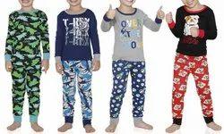 Cotton Round Kids Pajama T-Shirt With Capri