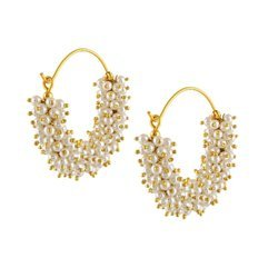 Brass Engagement Ankur Sparkling Gold Plated Pearl Jhumka Earring For Women