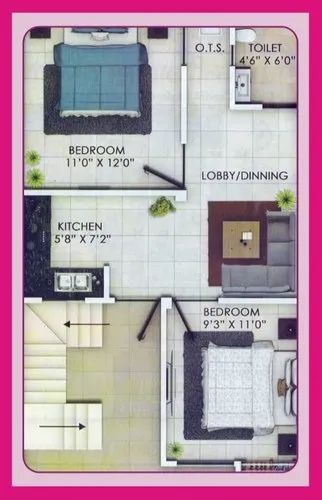 1 2 Residential House, in Lucknow, Area Of Construction: 550