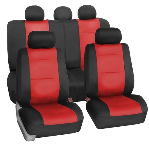 Black Red Leather Car Seat Cover