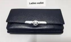 Female Blue Genuine Leather Ladies Wallets, Card Slots: 5