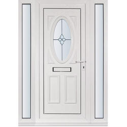 White and Silver UPVC Front Door