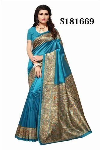 32e588845 Kalamkari Mysore Silk Fancy Party Wear Saree