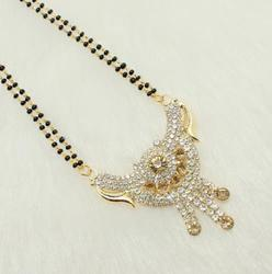 beadsnfashion Gold And Silver Plated Mangalsutra AD Stone Gold Plated 2 Layer, Size: Free