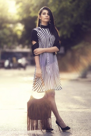 0fe8b940ee3 Black White Party Wear Crepe Western Wear Dress In Black And White Colour