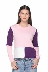 Women/Girls Cotton Short Color Block Sweatshirt