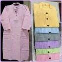 Knee Long Cotton Jharna Kurti, Wash Care: Machine Wash
