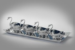 Silver Plated Tray with 4 Duck Bowls
