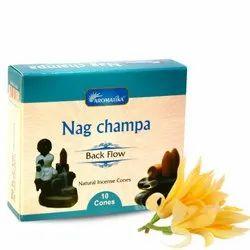 Aromatika Nag Champa Backflow Natural Incense 120 Cones in Box of 12 Packs