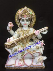 Colorful Marble Saraswati Statue