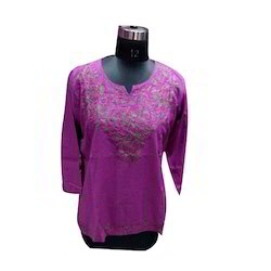 Embroidery 3/4th Sleeve Ladies Cotton Top