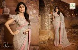 Digital Print Embroidered Chiffon Off White Sarees, With blouse piece, 5.5 m (separate blouse piece)