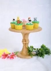 Pine Yellow Wooden Cake And Vase Stand, Circular, Features: Premium Polish Finish