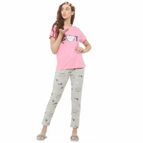 evolove Printed Ladies Night Suits(Pajama Set)