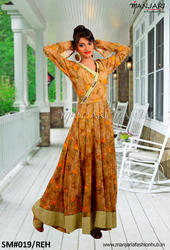 Manjari A Fashion Hub Printed Long Dress With Khadi Patch Work