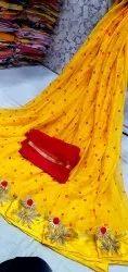 Bhandej print Gota Work Najmin Chiffon Saree, With blouse piece
