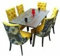 6 Seater Dining Set Made Of Solidwood By Jaipur Furniture Come With Comfortable Fabric Chairs