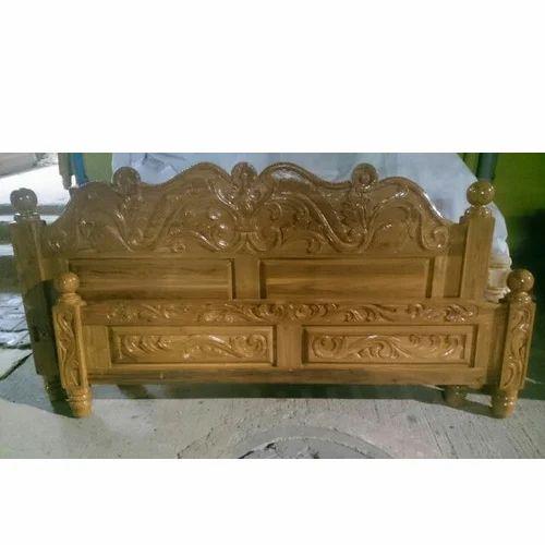 Teak Wood Full Carving Wooden Cot Wooden Headboard - R.T.S.