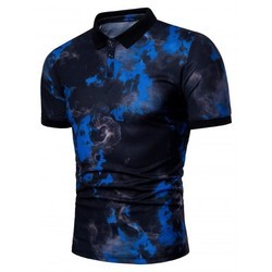 Men's Printed Cotton Collar T Shirt
