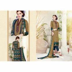 Cotton Multicolor Ladies Designer Unstitched Suit