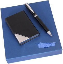 Leather Card Holders And Pen Set