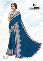 Indian Women Teal Blue Twill Georgette Sarees