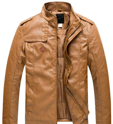 Leo Torresi Men's Motorcycle Stand Collar Leather Jacket-Brown