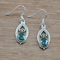 925 Sterling Solid Silver Jewelry Corundum Emerald Stone Earring We-4111