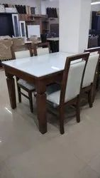 4 Chair Natural Wooden Dining Table For Home