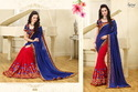 Blue-Red Royal Printed Saree