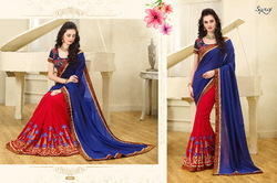 Blue-Red Royal Printed Saree
