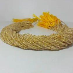 Natural Golden Rutile Quartz Micro Faceted Beads