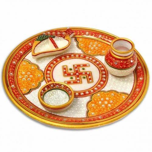 Marble Pooja Thali With World Famous Rajasthani Meena Work