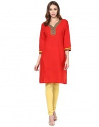 Red Cotton Embroidered Kurta