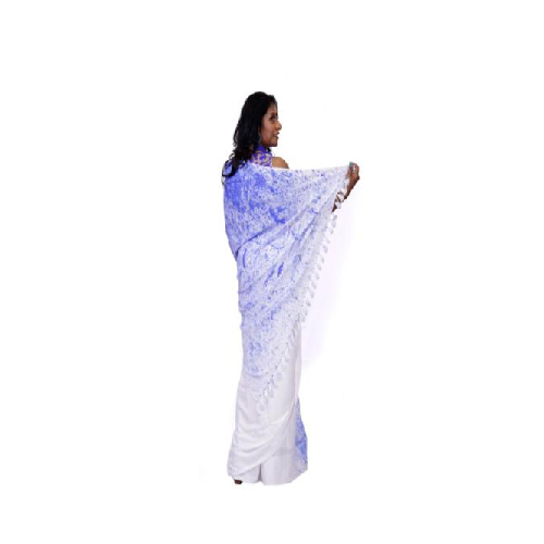 Blue And White WOW Rayon Saree