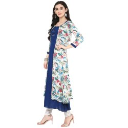 Yash Gallery Womens Rayon Floral Printed Kurta with Shrug