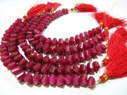Ruby Twisted Briolette Beads