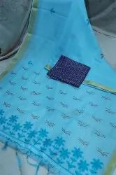 Linen Embroidered Pallu Sarees