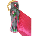 Silk Party Wear Hand Painted Saree, Length: 6.3 m