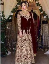 Fabliva Ethnic Designer Velvet Embroidered Long Anarkali Gown
