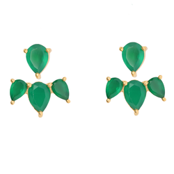 Trillion Beautiful Gorgeous Green Onyx Ear Stud Micron Gold Plated Jewelry
