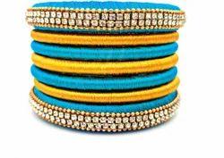 Blue And Golden Handmade Silk Thread Bangle Set