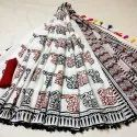 Girraj Printers Party Wear Designer Printed Pom Pom Sarees, 6 M (with Blouse Piece)