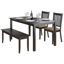 Madesos Himtal Dining Table In Teak Wood With Dark Brown-four Seater Dining Set